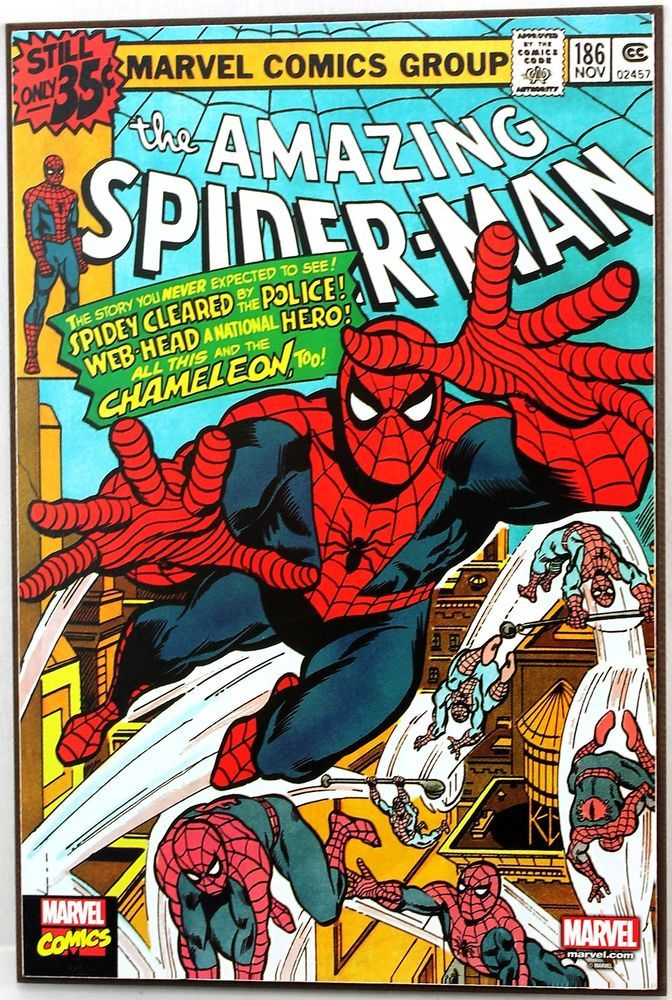 Marvel Spider Man 186 Retro Wood Comic Cover Plaque Wall