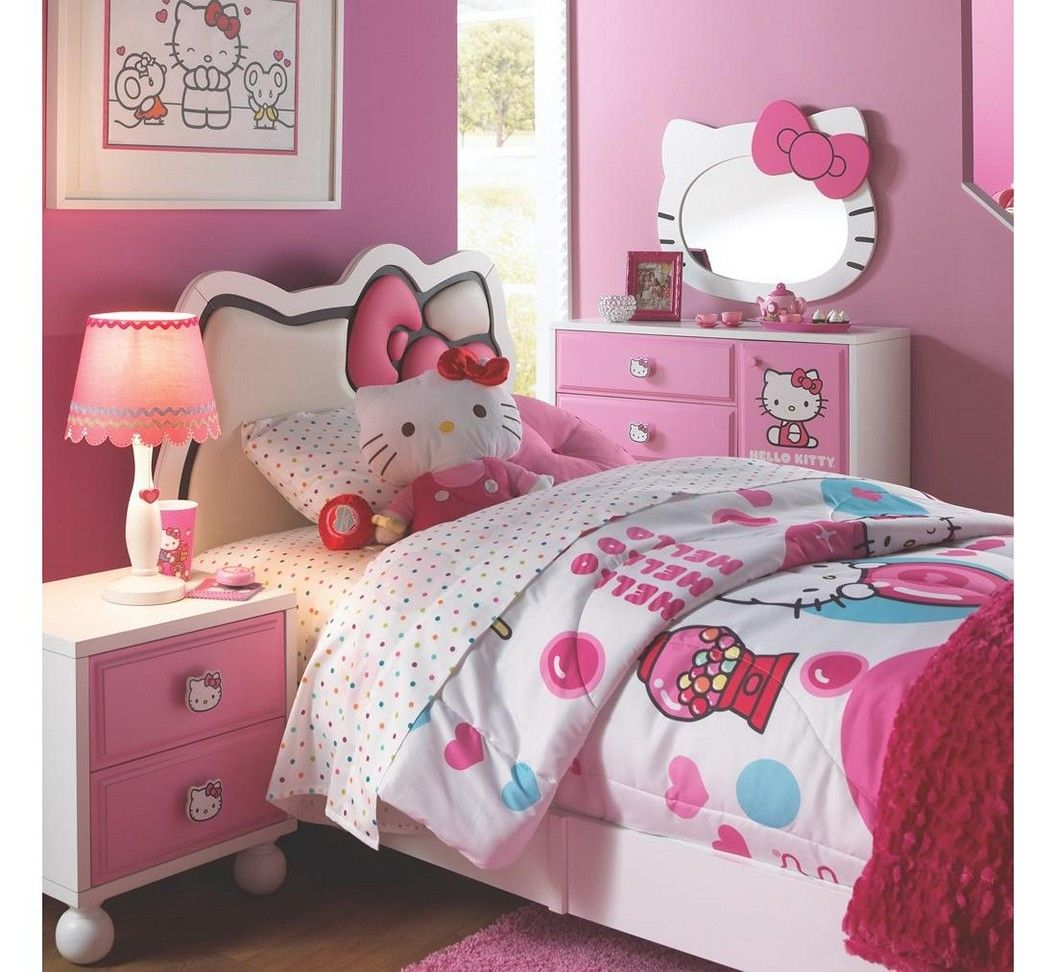 Hello kitty bedroom designs for girls - Girl Bedroom With Pink Walls And Hello Kitty Bedding And Furniture Sets