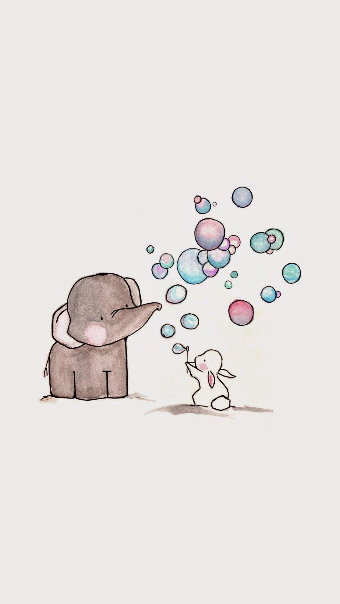 Elephant Bunny Rabbit Blowing Bubbles Art In 2019 Cute
