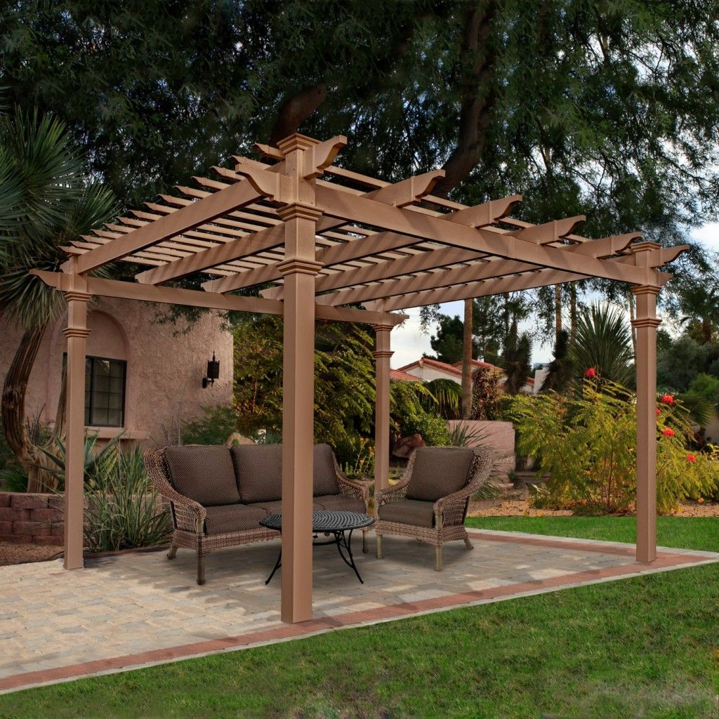 patio pergola plans lowes Outdoor pergola, Vinyl pergola