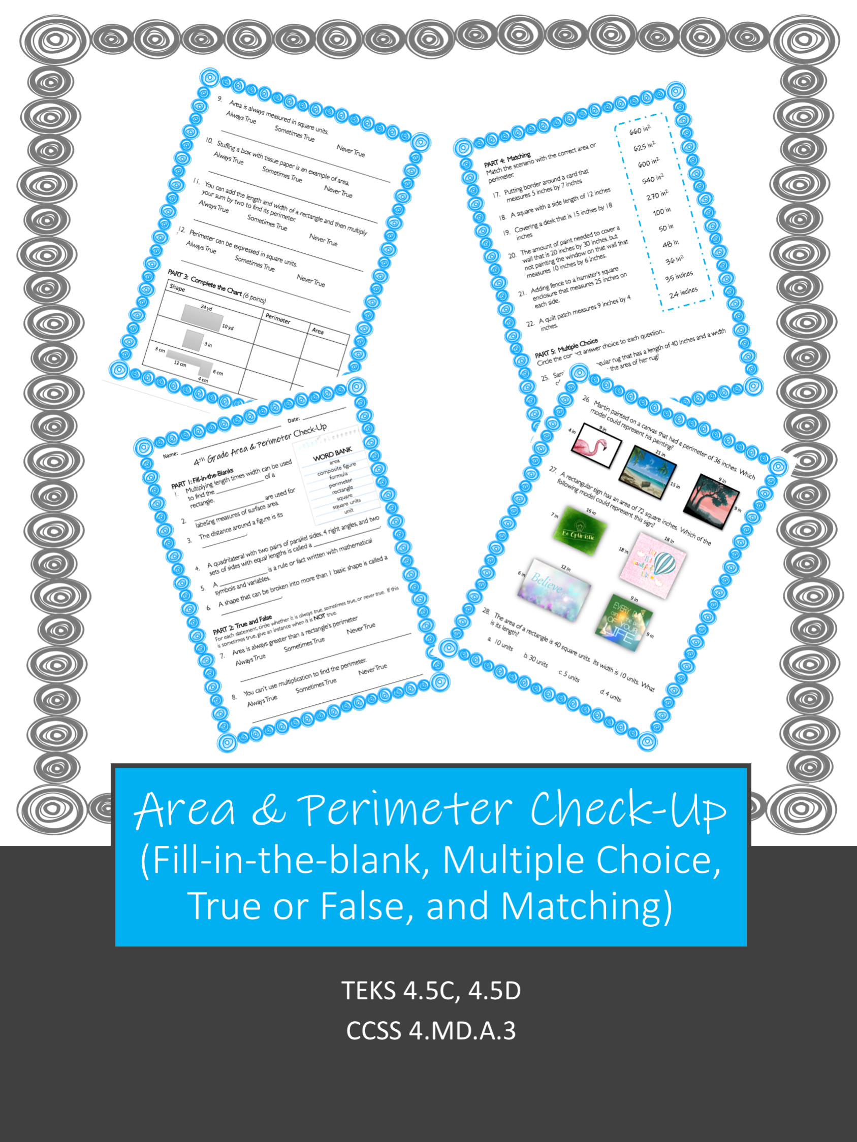 Area And Perimeter Check Up Or Review Worksheet In