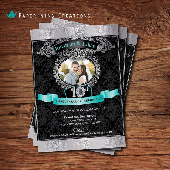 10th Wedding Anniversary Party Ideas: Printable Silver 10th Wedding Anniversary By