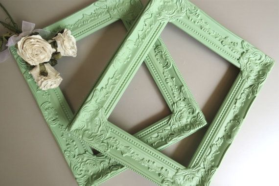 Gorgeous pair of vintage inspired resin frames painted a soft pistachio green and sealed with a matte satin finish. The frames measure 12 x 14 for an