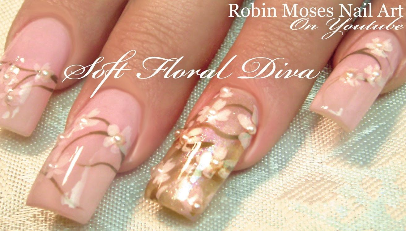 Easy Pastel Pink And White Flower Nails Wedding Nail Art Design