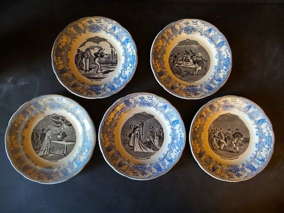 Antique French Wedding Plates from Gien .Set by CabArtVintage : antique french plates - Pezcame.Com
