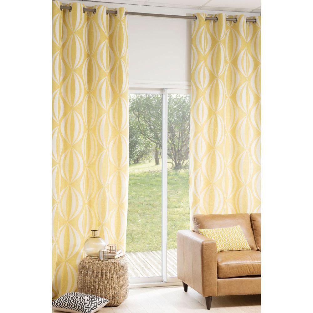 rideau illets jauneblanc 140 x 300 cm maisons du monde