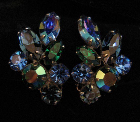 Peacock Blue Rhinestone Earrings Gorgeous 1950's Pair by Elsewind, $23.00