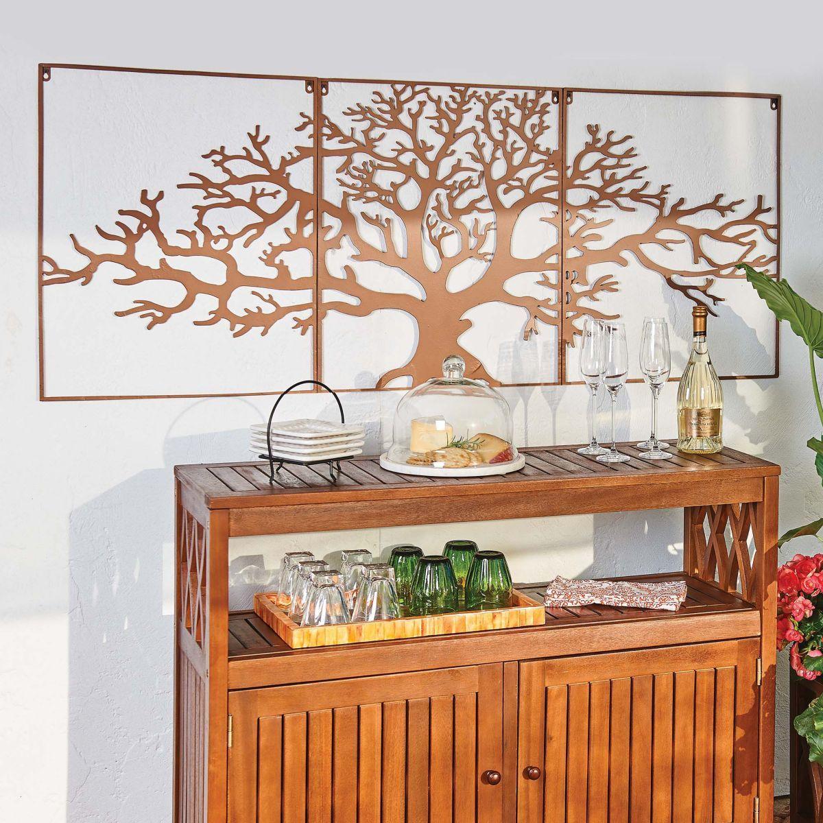 3 PC. Oak Tree Metal Wall Decor