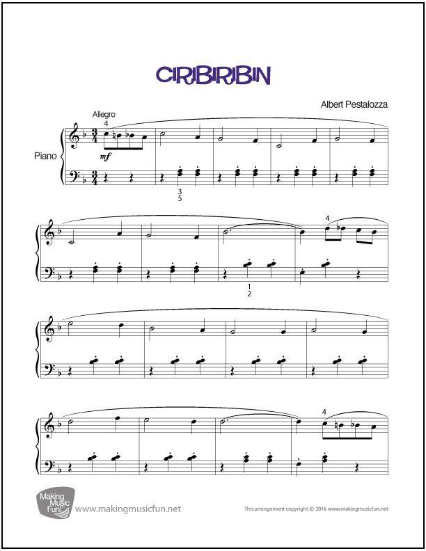 Ciribiribin   Sheet Music for Piano (Digital Print) - http ...