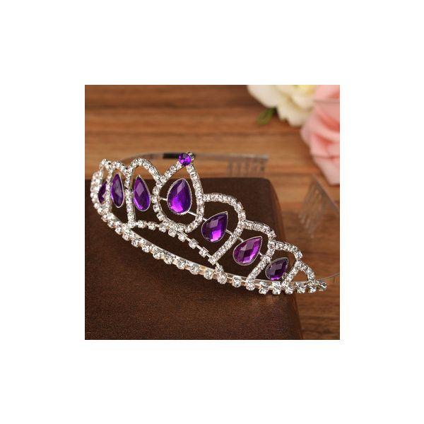 Bride Purple Diamond Crystal Rhinestone Crown King Queen Tiara Wedding 680 CAD