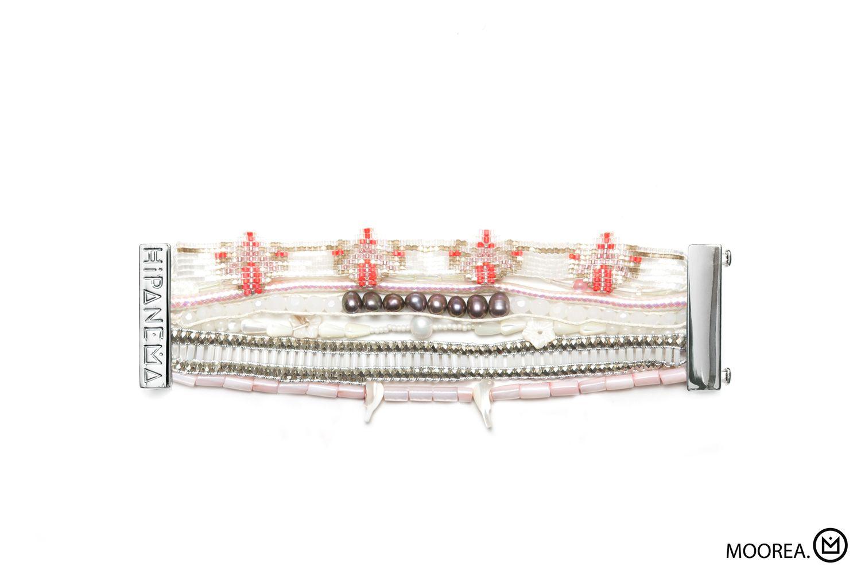 Large Bracelet Blanc Et Rose Avec Perles De Tahiti, Fermoir Argenté , Hipanema Moorea