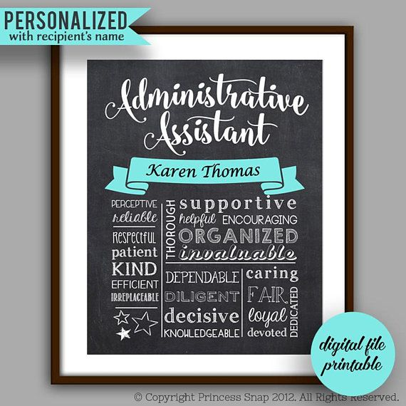 DIY PRINTABLE - Secretary Gift, Administrative Assistant ...