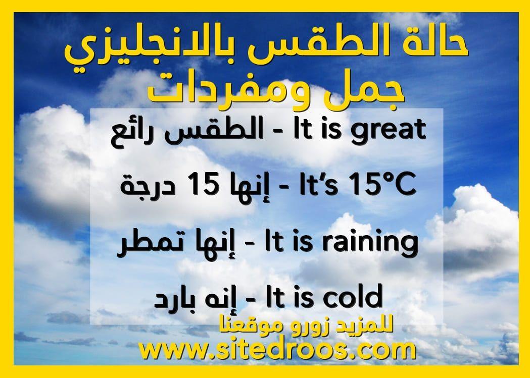 جمل عن الطقس بالانجليزي حالة الطقس بالانجليزي Greatful Vocabulary Weather