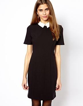 ASOS - Black River Island Shift Dress with Contrast Collar