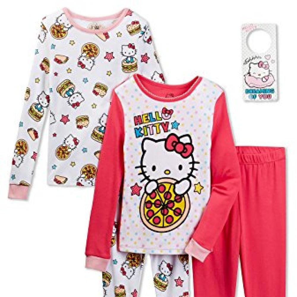 Hello Kitty Baby Girls/' 4-Piece Cotton Pajama Set