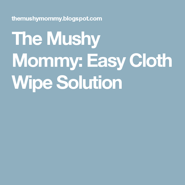 The Mushy Mommy: Easy Cloth Wipe Solution