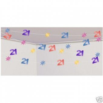 Pink Glitz 21st Birthday Hanging Decorations Pack 6 5ft Strands Unique Party
