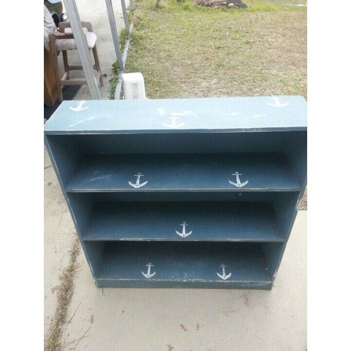 Distressed anchor bookcase