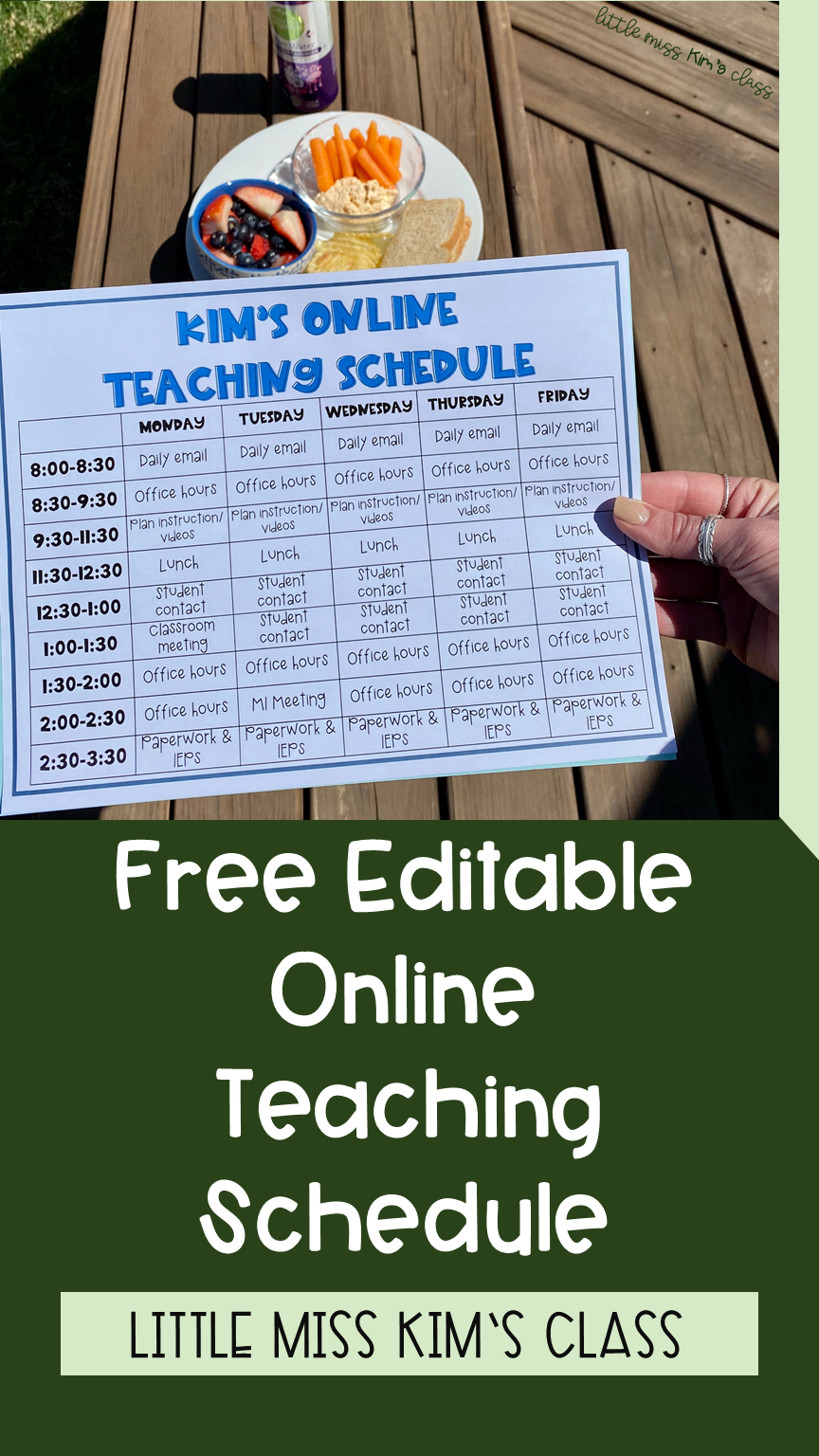 Free materials & resources for special education and primary elementary teachers during remote / online learning! Teacher schedule template
