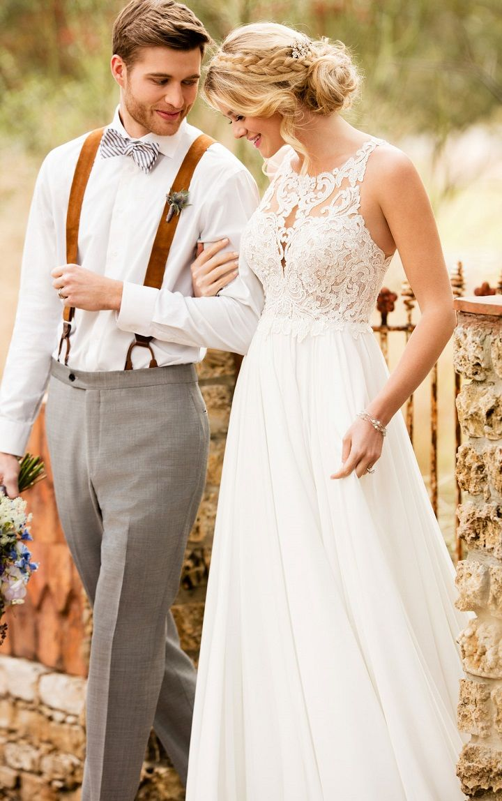 Effortless and ethereal, this boho wedding dress from Essense of Australia is a lace and crepe chiffon dream!