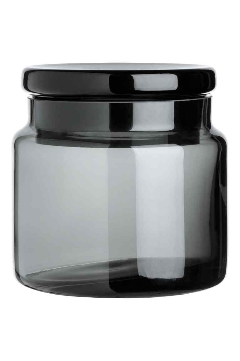 Glass Jar With A Lid Anthracite Grey Home All H M Gb Glass Jars With Lids Glass Jars Small Glass Jars