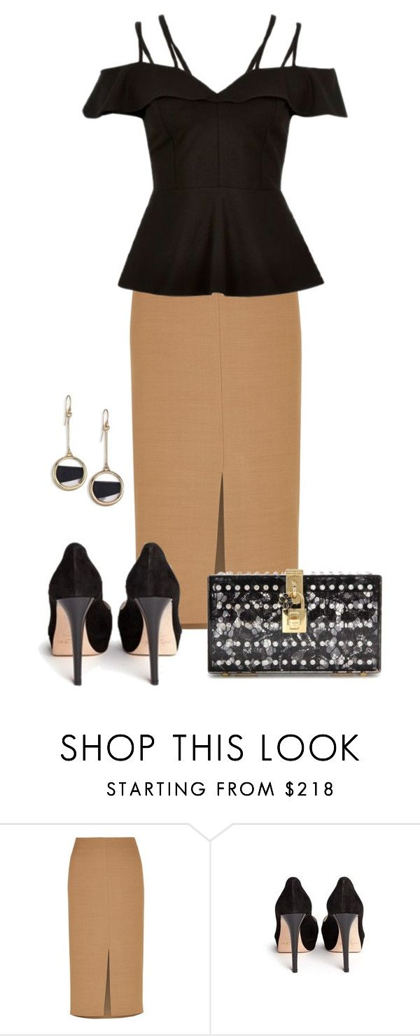 """Evening"" by larycao ❤ liked on Polyvore featuring Jaeger, River Island, Jimmy Choo, Dolce&Gabbana and Alexis Bittar"