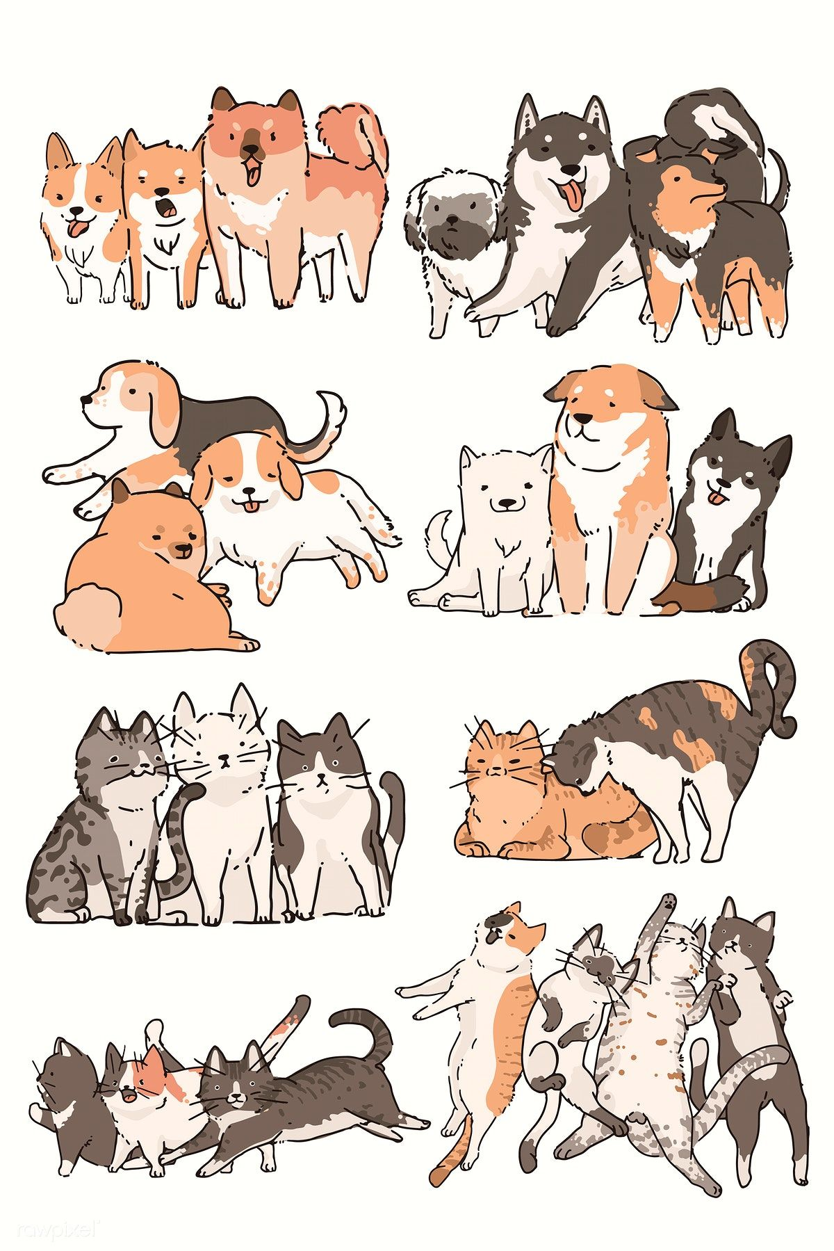 Cats And Dogs Doodle Vector Set Premium Image By Rawpixel Com
