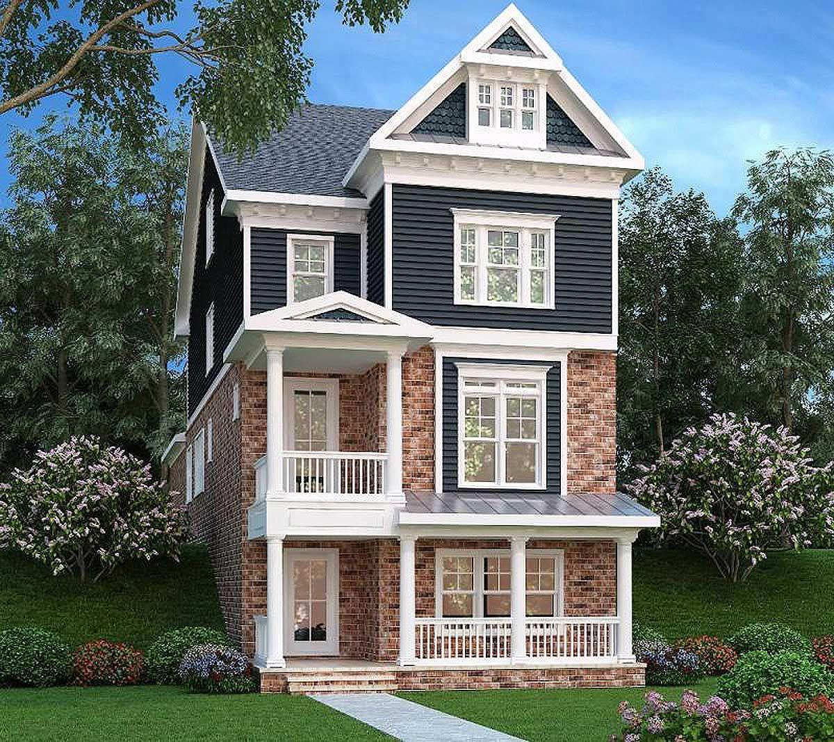 Plan 75553gb Narrow Lot Home 3 Level Living Narrow House Plans Garage House Plans Narrow Lot House Plans