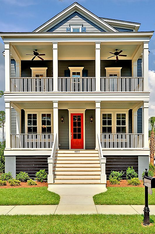 Fulfill Your Dream Of Having A Double Stacked Front Porch Repin By Pinterest For Ipad House With Balcony Porch House Plans Beach House Plans