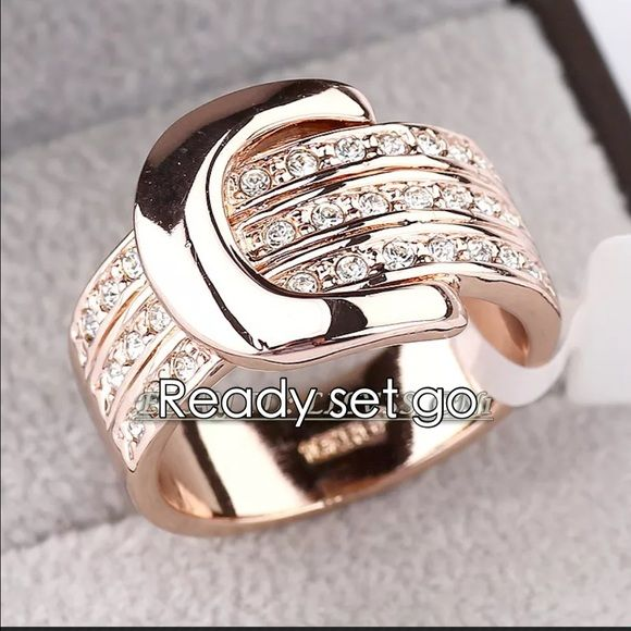 Stunning belt buckle rose gold ring 6 5 NWT