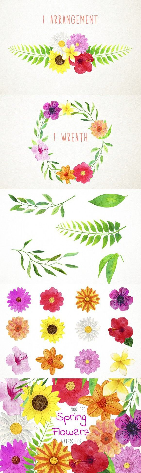 Watercolor Spring Flowers Clipart Pinterest Watercolor