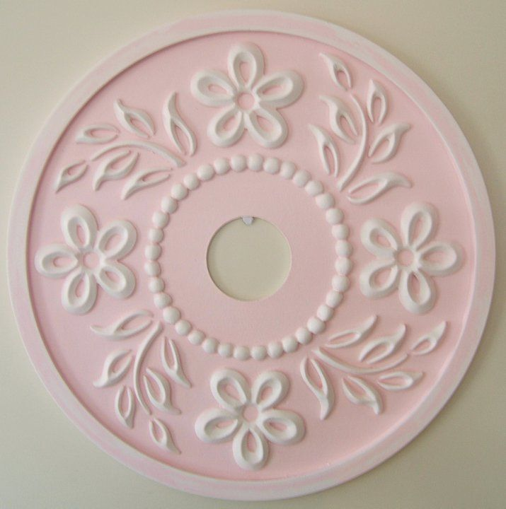 Ceiling Medallion in Hibiscus design by Marie Ricci. Shown in Pale Pink distressed. $145