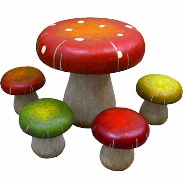 Patio Furniture Table And Chair Sets Toadstool Mushrooms. A Touch Of Unique  Fantasy Design Outdoor Patio Furniture For Garden And Terrace In The Table  ...
