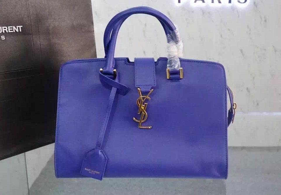 c8cf28ab2a Saint Laurent Small Monogram Cabas Bag In Royal Blue Leather   designerbagsforless