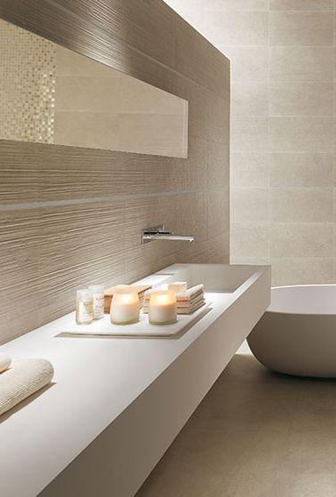 Extra long corian sink combined with neutral tones bathroom bad salle de bain design - Badezimmer corian ...