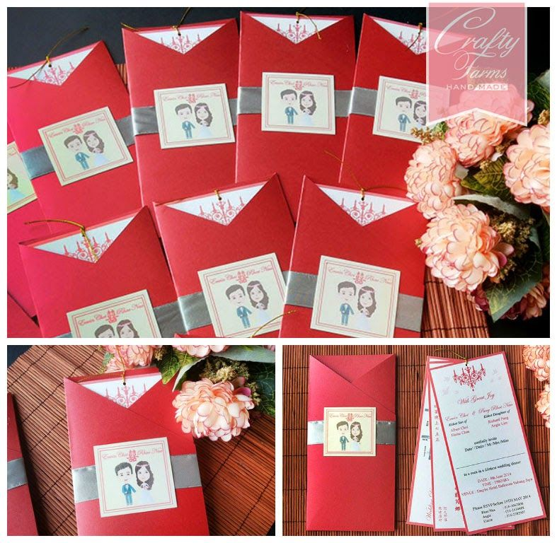 Cute Malay Couple Cartoon Handmade Wedding Pocket Invitation - best of wedding invitation card kota kinabalu