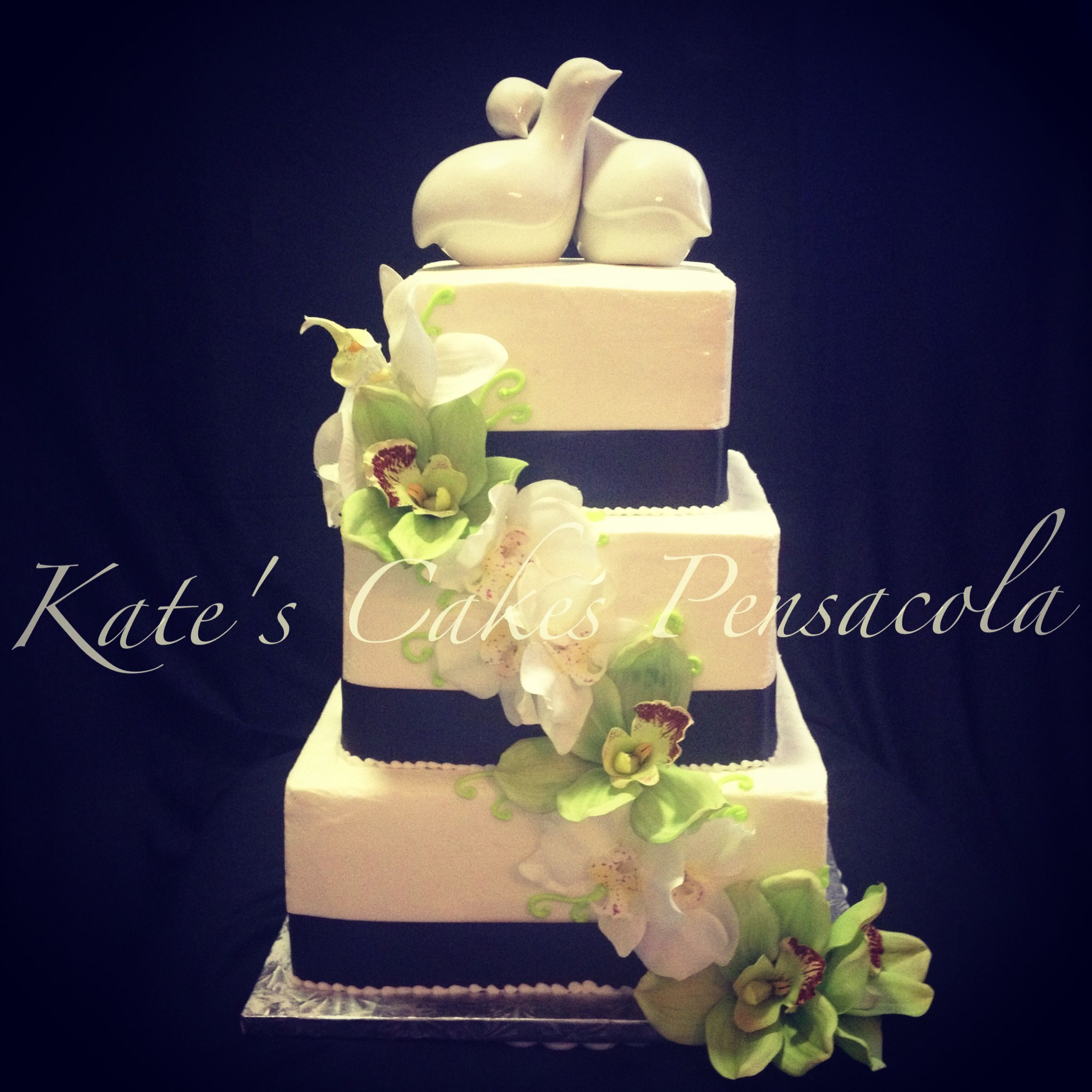 3 Tier Simple Wedding Cake. Ribbon Accent. Sill Flowers