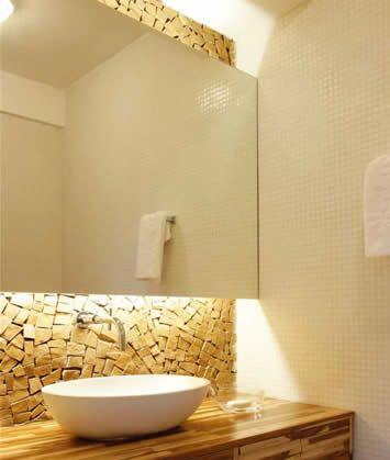 Banheiros Claros Parede De Pedra Espelho Para Banheiro