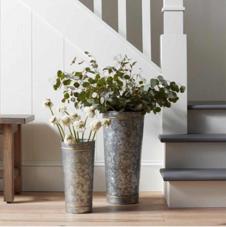 Galvanized Metal Tall Vase With Flower Frogger Farmhouse Set Floor
