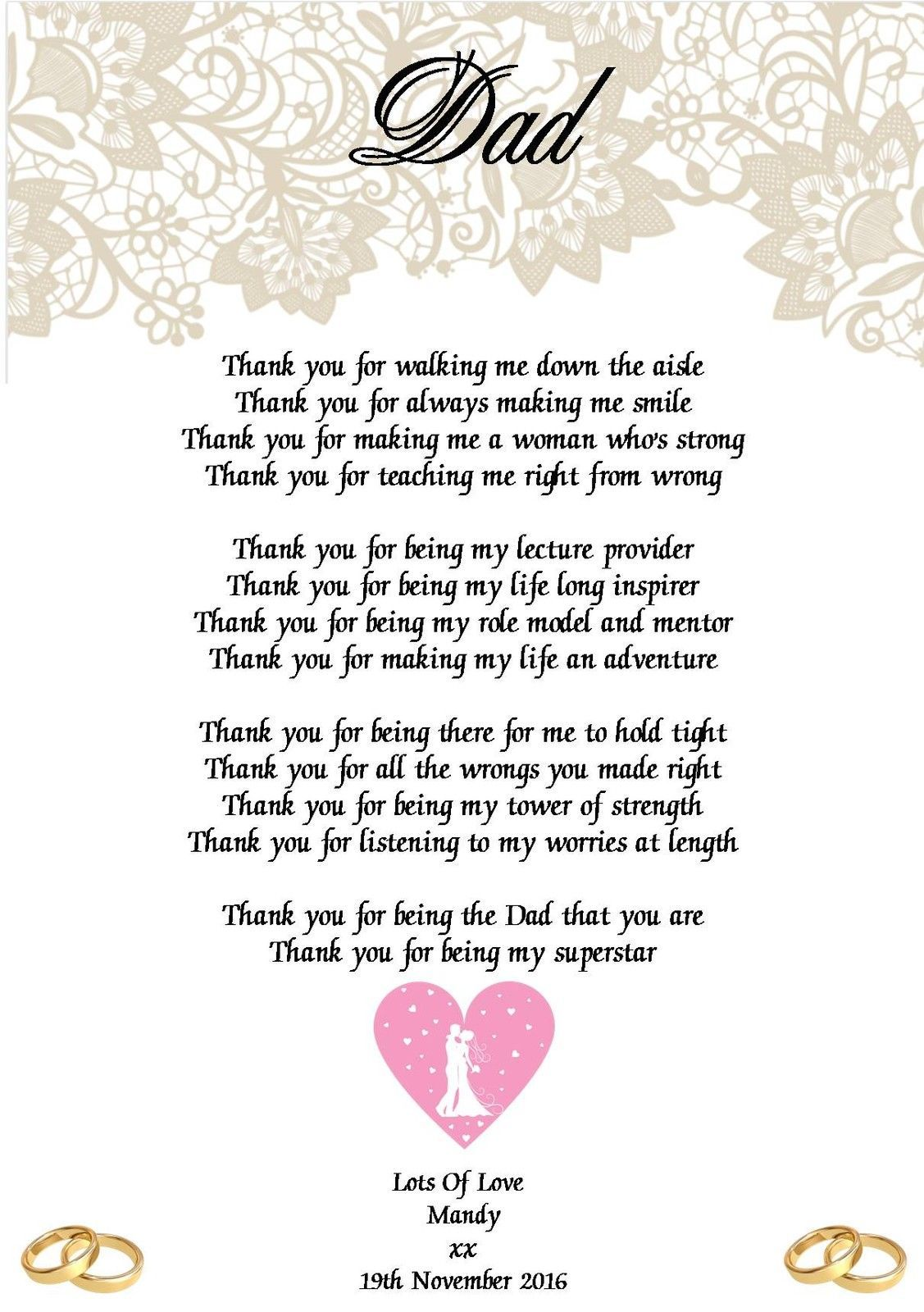 Wedding Day Thank You Gift Father Of The Bride Poem A5 Photo 260gms Ebay Father Of The Bride Wedding Gifts For Families Bridesmaid Poems