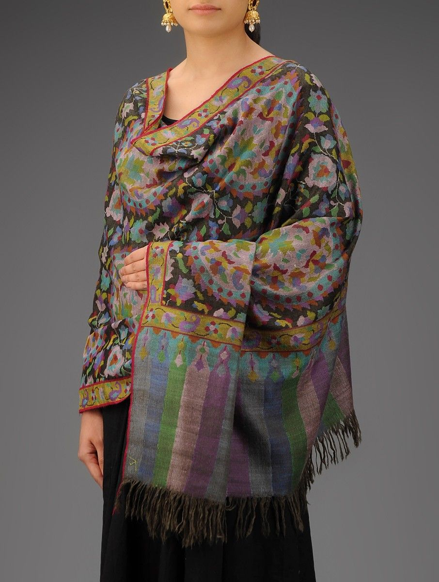 d75e5ee72e Black Multi Color Floral Handwoven Handspun Kani Jamawar Pure Pashmina  Shawl Accessories Shawls Kashmiri Threads Hand woven from Kashmir Online at  Jaypore. ...