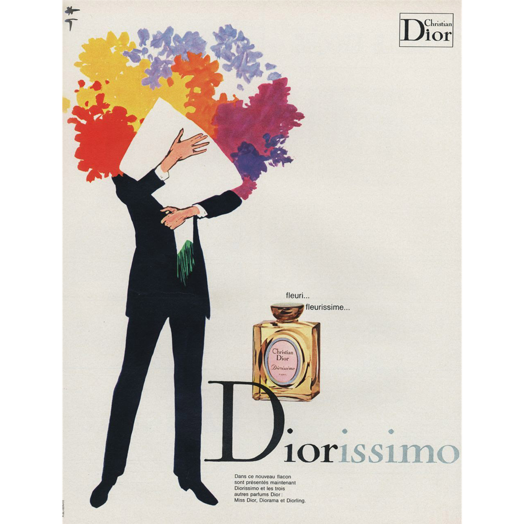 Rene gruau 1970 french vintage perfume advertisement is for christian diors diorissimo perfume