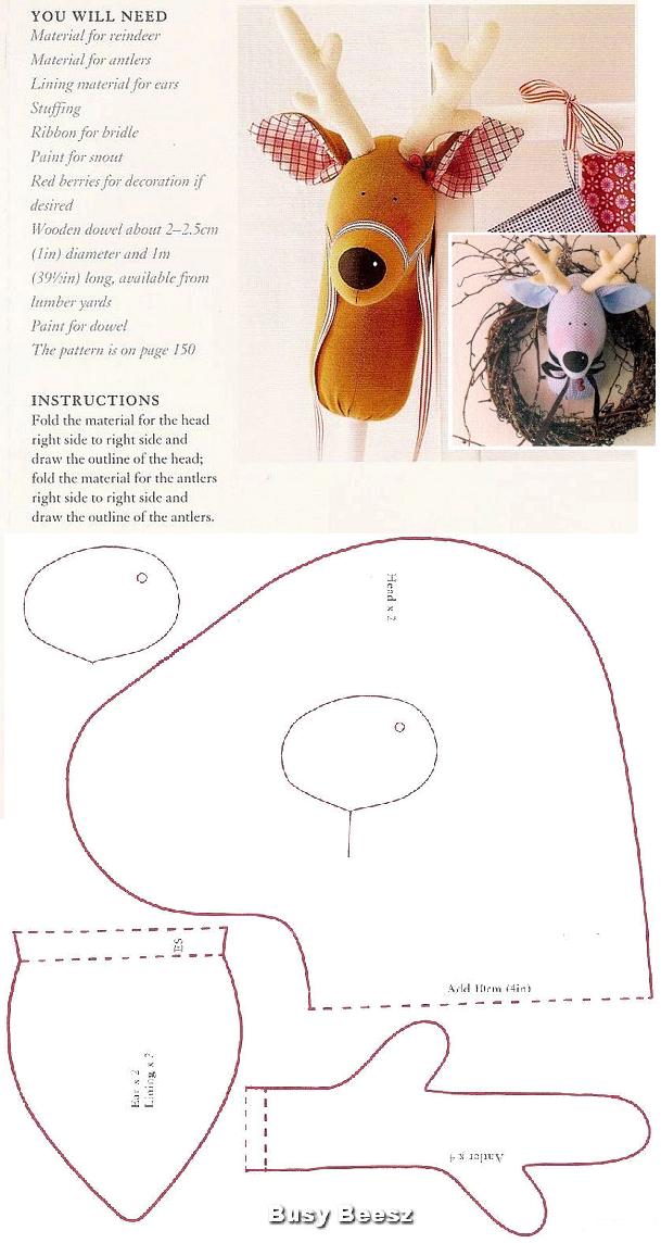 Tilda cabeza reno (patrón) … | ideas | Pinte…