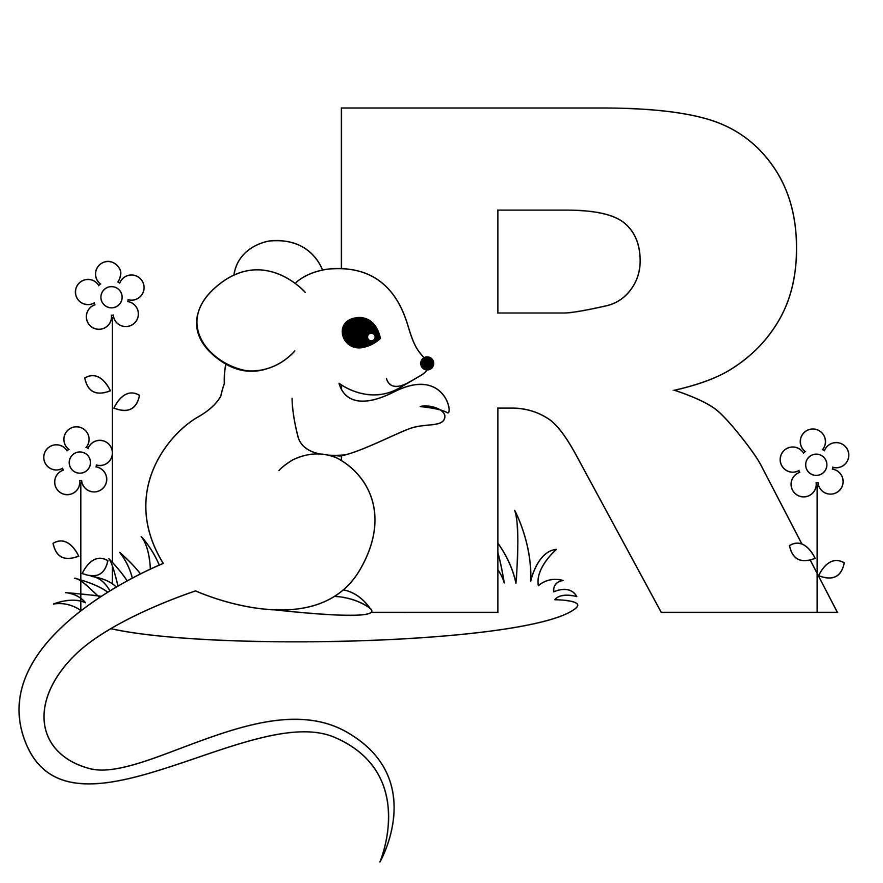 Alphabet pages for coloring book - Animal Alphabet Letter R Is For Rat