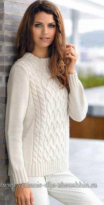 Белый вязаный свитер спицами | Одежда спицами | Вязание ...