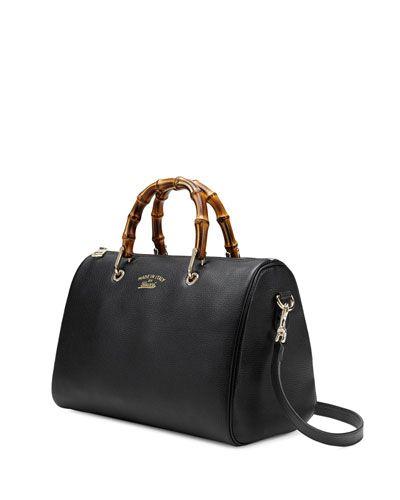 Gucci Bamboo Boston Bag Medium Black Neiman Marcus