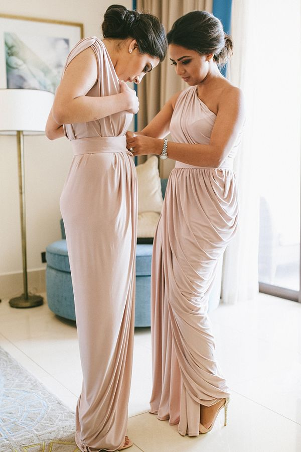 Chic One Shoulder Pearl Pink Long Bridesmaid Dresses Simple Wedding Party Women S Fashion