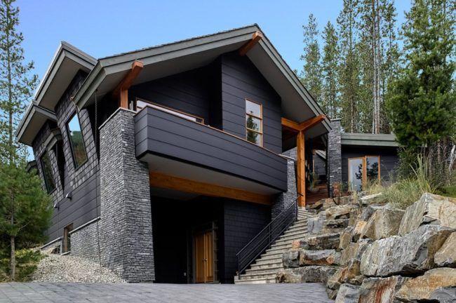 Exteriores de casa con muros paredes de piedra gris - Piedra para muros exteriores ...
