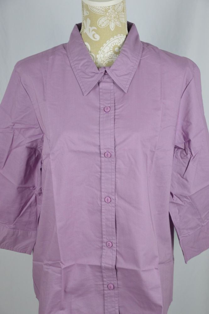Details about Blair Womens XL Lavender Purple Button Down Shirt 3 ...
