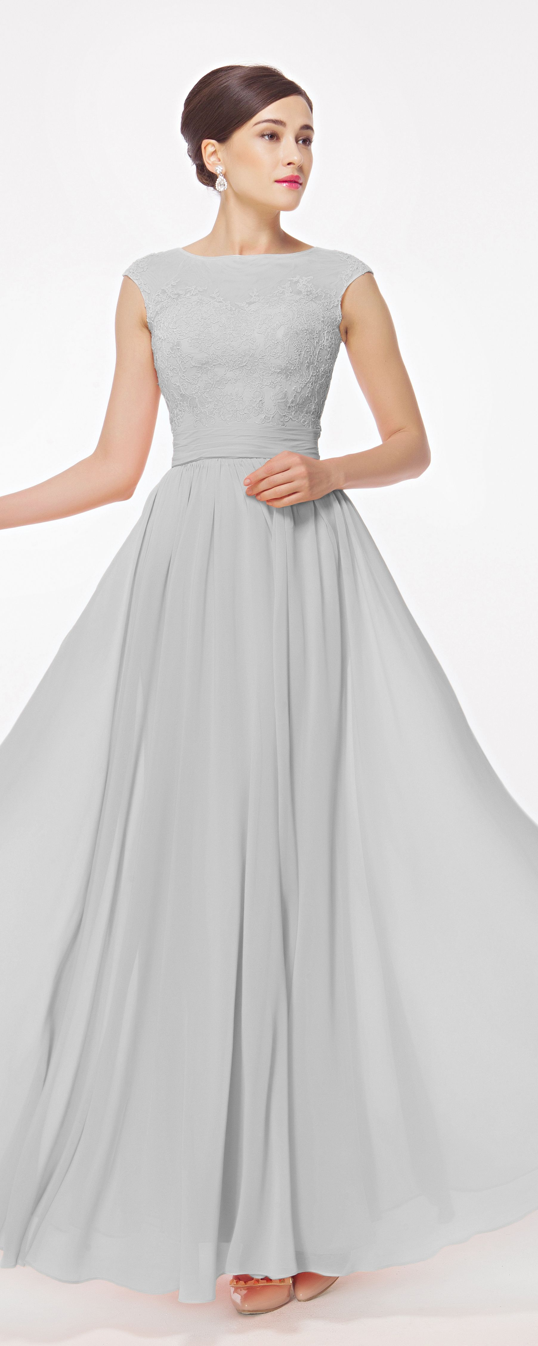 Modest cap sleeves grey mother of the bride dresses long evening
